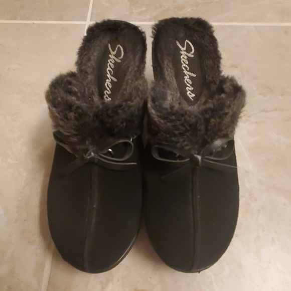 women discount up to 60% shop for official Skechers Disco Bunny fur lined suede clogs
